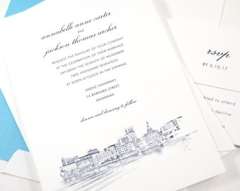 Savannah Skyline Wedding Invitation, Savannah Destination Wedding, Invite (Sold in Sets of 10 Invitations, RSVP Cards + Envelopes)