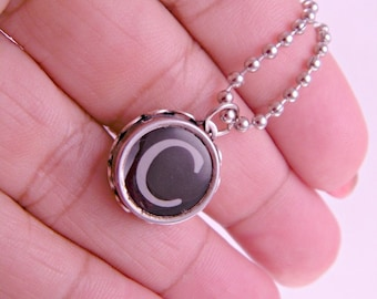 Vintage Typewriter Key Pendant Necklace Letter C with 16 Inch Ballchain