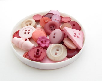 Buttons, Pink, Plum or Brown Colour Themed Button Mix, Knitwear, Crafting, Mixed Media