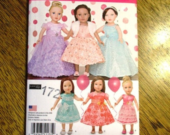 "FANCY Formal Dress / Elegant Evening Gown / Pageant Gown / DIY Doll Clothing for 18"" Dolls - UNCUT ff Sewing Pattern Simplicity 1135"