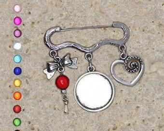 Silver ring 20 mm knot heart brooch pin