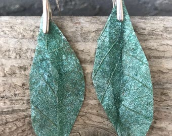 Kombucha leaf earrings- 2""