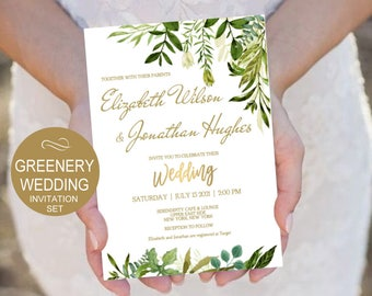 Rustic Wedding Invitation Suite Template 5 PIECE Gold