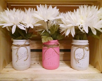 Painted Mason Jars Wedding Vases Rustic Chalkpaint Pint Jar Set of Three