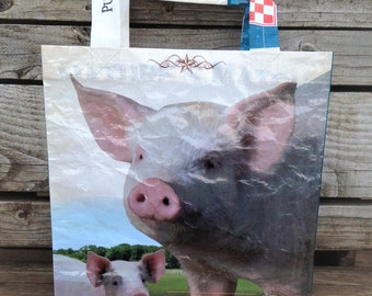 Recycled Feed Bag Tote, reusable tote bag, grocery tote, recycled shopping bag, reusable grocery bag, recycled tote bag, Purina pig