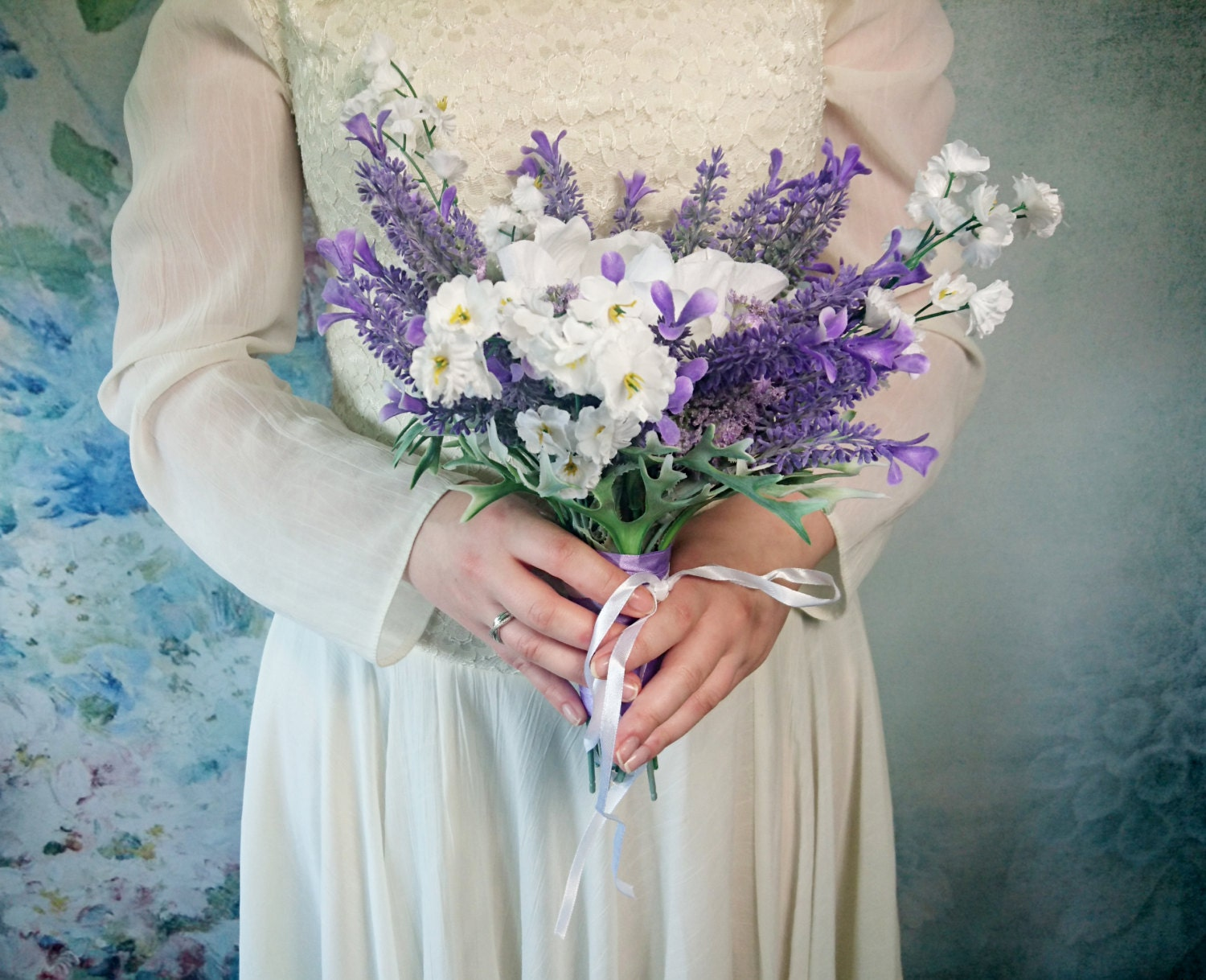 Ready to ship lavender white wedding bouquet fake flowers magnolia ready to ship lavender white wedding bouquet fake flowers magnolia matthiola purple lilac satin ribbon custom bouquet small purple izmirmasajfo Image collections