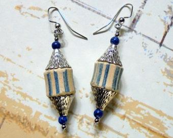 Rustic Denim Blue and Cream Striped Boho Earrings (3066)