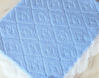 "Made To Order Knitted/Crochet Baby Blanket 33""x 24"""