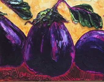 Purple Eggplants 10x30 Inch Original Oil Painting by Paris Wyatt Llanso FREE SHIPPING