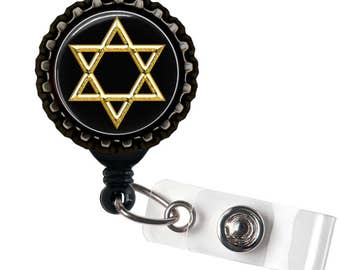 STAR Of DAVID  - Jewish - Black Retractable Badge Reel ID Holder