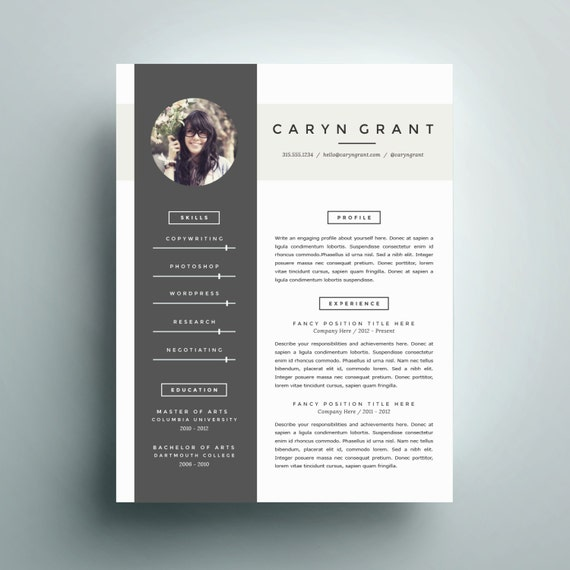 Professional Resume Word Template: Professional Resume Template And Cover Letter Template For