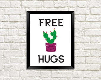 Free Hugs Cactus Poster, Cactus Poster, Cactus Print, Free Hugs Cactus, Free Hugs Cactus Printable, Cactus Wall Art, Cactus Digital Print