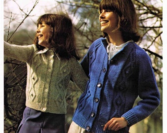 Lady's and Girl's Aran Round Neck Cardigan - Size 66 to 91 cm (26 to 36 inch) - Lister Lee  1158 - Vintage Knitting Pattern