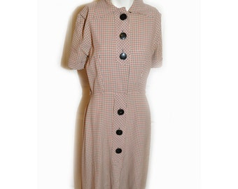 1940s WW2 Black and Red Ghingham Rayon Day Dress