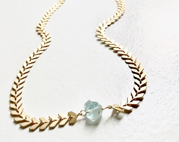 Cinderella Aquamarine Choker - Raw Crystal Chevron Statement Necklace - Handmade Jewelry Unique Necklace Modern Boho Geometric Minimal