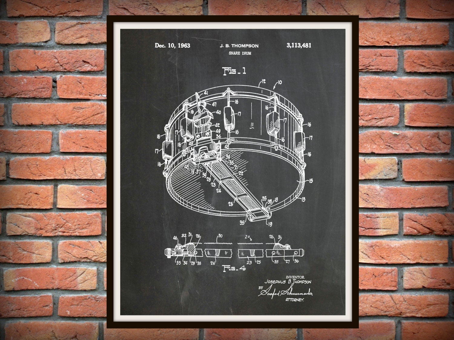 1963 Snare Drum Patent Print - Marching Band Decor - Music Room Decor - Jazz Band Wall Art - Marching Band Gift & 1963 Snare Drum Patent Print - Marching Band Decor - Music Room ...