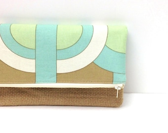 Clutch Purse Organizer - Geometric Circles in Greens and White with Burlap panel