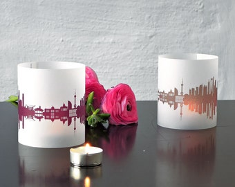 SHANGHAI Tablelight set of 2 lanterns candlelight in fume and plum - City Shade SHANGHAI skyline - made by 44spaces in Berlin