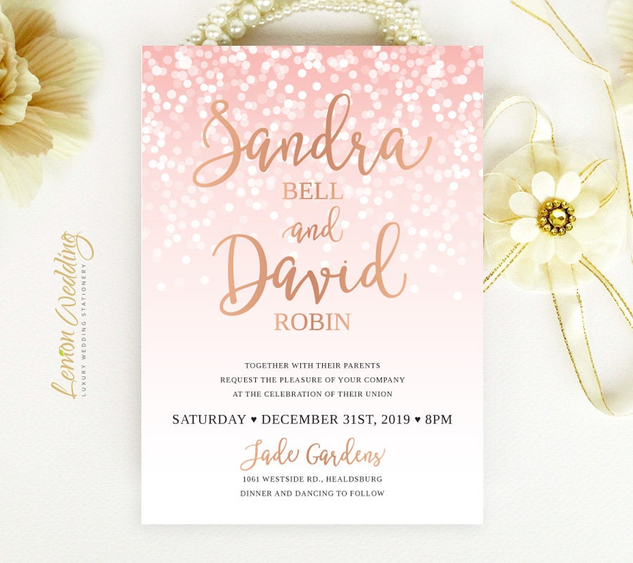 Rose gold wedding Invitations printed Glitter confetti