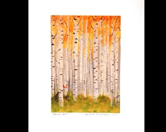 Fox in an Autumn Birch Forest Print of Original Illustration