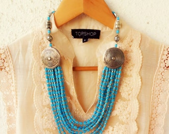 Turquoise Necklace/Multi Layered Necklace/Statement Necklace/Silver Bohemian Necklace/Handmade Necklace