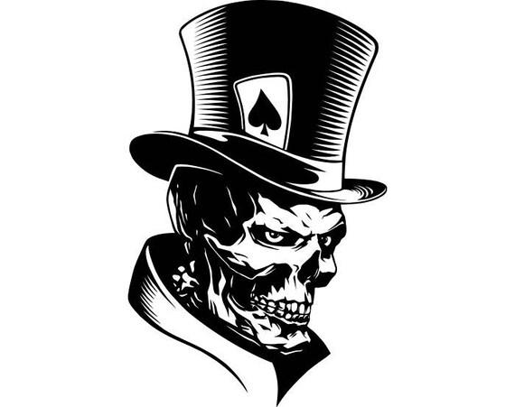 Poker Skull 1 Ace Of Spades Top Hat Playing Card Gambling