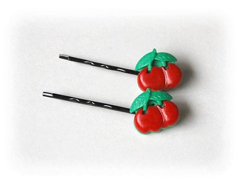 Rockabilly 50s Cherries bobby pins set of 2