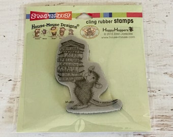 Stampendous repositionable Cling Stamp, Stack of Books, House Mouse by Ellen Jareckie, stamping, card making, scrapbooking, paper crafting