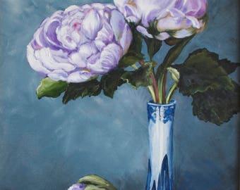 Painting of Flowers in Vase, Peonies Blossoms, Original, Purple, Blue