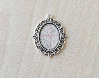 medium pendant and silver cabochon 18 X 25 mm