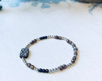 Filigree Bracelet 925 sterling silver with bohemian beads