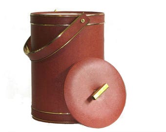 Georges Briard Textured Brown Leatherette Ice Bucket Large MCM Bottle Chiller Insulated Russet Wine Cooler Gifts Under 50