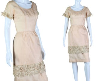 50s Beige Dress Soutache Detail Dress 1950s Dress As is