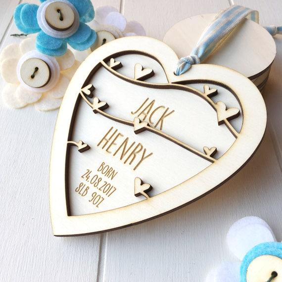 New Baby Boy Keepsake - Personalised baby gift - New born gift - keepsake heart