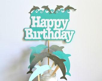 Dolphin Cake Centerpiece / Dolphin Cupcake Toppers / Fish Toppers / Dolphin Birthday / Dolphin Cake Toppers