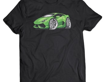 Lamborghini Huracan Green Silver Koolart T-Shirt for Men
