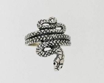Coiled Snake Ring in Sterling Silver