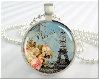 Eiffel Tower Art Pendant, Paris France, Jewelry Art Charm, Travel Gift, Round Silver, Gift Under 20, Resin Charm (007RS)