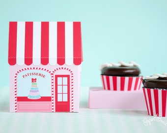 Sweet Shoppe Cupcake Box, Patisserie, Favor Box, Cupcake Holder, Sweet Treat Box, Birthday Party Favor, Gift Packaging, Pink