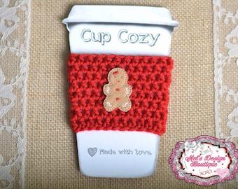gingerbread girl - crochet travel cup cozy - cozy - coffee cozy - red coffee cozy - christmas cozy - gift - crochet cozy - crochet cup cozy