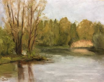 Landscape oil painting, artwork, calm waters