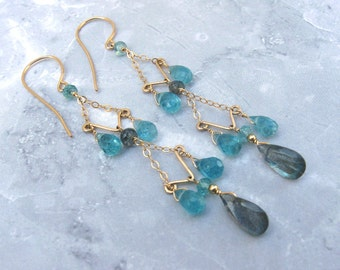 Labradorite Chandelier Earrings with Apatite, Gold Filled with Gemstones
