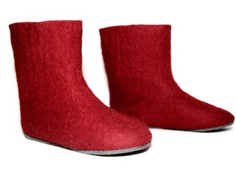 Custom Made Boots, Valenki Boiled Wool Boots, Snow Boots, In case of Cold Feet, Felted Boots for Men, Red Gift Women, Customize Rubber Sole