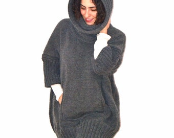 Dark Gray Hand Knitted Sweater Dress with Accordion Hood and Pocket Plus Size Over Size Tunic - Dress by Afra