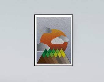 Felt Mountain - Day - Graphic Design Landscape Sun Art Poster A2 or A3 unframed