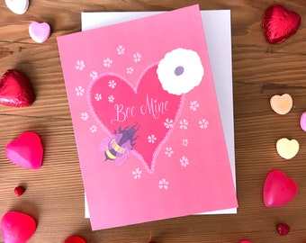 Valentine Card | Engagement Card | Galentine Card | Love and Romance | Lettering | Bee Mine Lacy Heart with Pink and Ivory Flowers