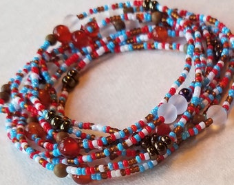 Seed bead necklace, seed bead bracelet, stretch bracelet, beaded necklace, long necklace, stacking bracelet, bracelet, red necklace, boho