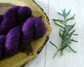Merino Sock Yarn 100g - 4ply Purple Silver Sparkle Sock Wool - Hand Dyed with Natural Dyes