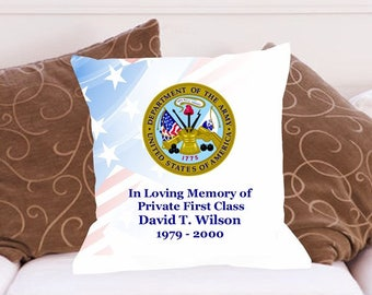 Personalized Military Memorial Throw Pillow Military all Branches Available Couch Pillow