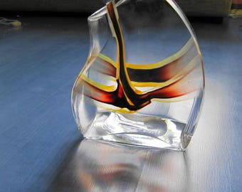 Kosta Boda Sweden Glass Decanter signed Kjell Engman 7086611 Brown and Yellow